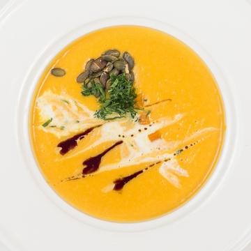 Суп-пюре из тыквы с жареными тыквенными семечками