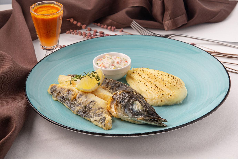 Ледяная рыба с картофельным пюре